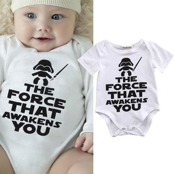 2017 Pudcoco Fashion Newborn Star Wars Baby Clothes Short Sleeve Bodysuit Cotton Bodysuit Sunsuit Outfits Cotton Letter Lolita 1