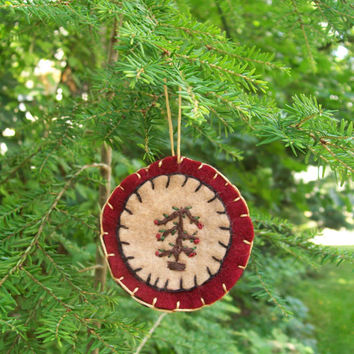 Three layer hand embroidered felt christmas ornament