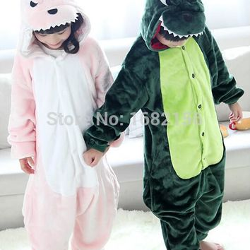 Children Unisex Dragon Pajamas Pink Green Hooded For Kids One Piece Sleepwear ropa de bebe pijama infantil menino