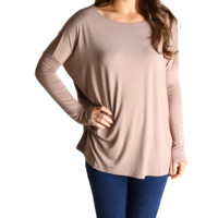 Taupe Piko Long Sleeve Top