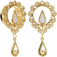 "7/8"" White Faux Opal Gold Anodized Ornate Dangle Tunnel Plug Set"