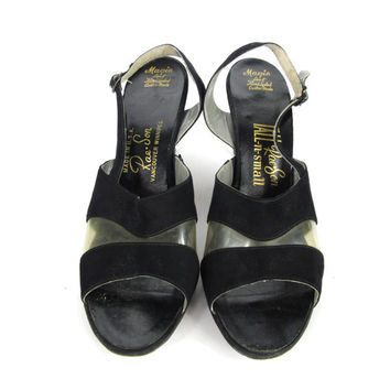 Vintage 1950s Lucite Heels Black Leather Slingback High Heels Open Toe Strappy Low Heels Clear Plastic Heels Transparent Pinup Heels 9.5 AA