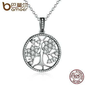 BAMOER Classic 925 Sterling Silver Tree of Life Round Pendant Necklaces for Women Fine Jewelry collares PSN013