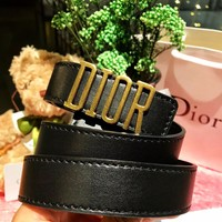 Dior 2019 new women's retro classic letter head thin belt Black