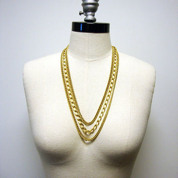 Vintage Bold 3-Strand Gold Chain Necklace - Monet - c.1970s