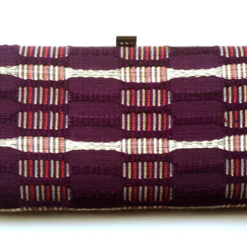 Vintage Japanese Kimono  Bag -  Purple Clutch - Vintage Clutch