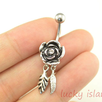 belly button jewelry,leaf belly button rings,flower and leaf navel ring,rose piercing belly ring,girlfriend gift