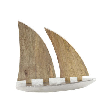 Benzara Attractive Aluminum Wood Sailboat Nautical Decor