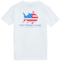 KIDS Skipjack Nation Tee Shirt in Classic White by Southern Tide