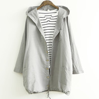 Button Down Patch Pocket Hooded Coat