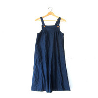 Vintage Jean Dress. Denim Apron Bib Dress. Long Midi Dress. Denim dress. Loose fit dress. Denim jumper dress.