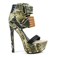 Fahrenheit Fiona-05 Textured Snake High Heel Platform Pump in Multi @ ippolitan.com