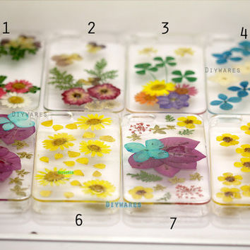 Unique real Pressed flower Iphone 5s case iphone 4s case iphone 5c case iphone 4 case iphone 5 case cover skin Daisy Flowers Yellow Blue
