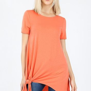 Short sleeve asymmetrical tie shark bite hem top coral
