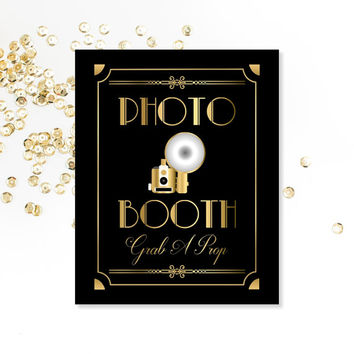 Photo Booth Sign, Grab A Prop, PRINTABLE Sign, Art Deco, Roaring 20's, 1920's, Digital Download, Party Sign, Wedding Photo Booth Sign