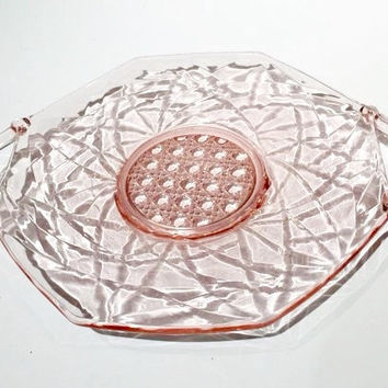Lancaster Pink Glass Cake Plate with Applied Handles, Cane Pattern Pink Plate with Scroll Handles, Lana Pattern Tray, Depression Glass Tray