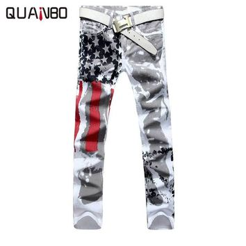 Big size 28-42 Brand Men's pants 2017 New White Printed Fashion Men Jeans Elastic Printing American Flag Jeans Hombre