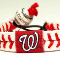 Gamewear MLB Leather Wrist Band - Nationals Classic Band