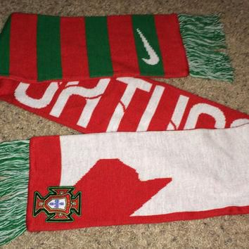 Sale!! Vintage Nike PORTUGAL Soccer Scarf Jersey Shirt Football wraps scarves