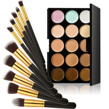 15 Color Make Up Cream Camouflage Concealer Palette + 10pcs Makeup Brushes Set Gift