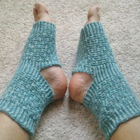 Toeless Yoga Socks Hand Knit in Blue Sparkle by MadebyMegShop