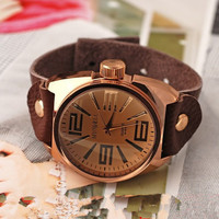 Men's Leather Wrist Watch