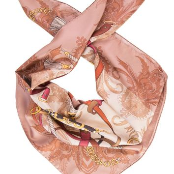 Paulina-Equestrian Silk Foulard by Marina D'Este-Antique Rose
