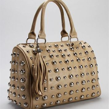 Taupe Dome Stud Bowler Bag