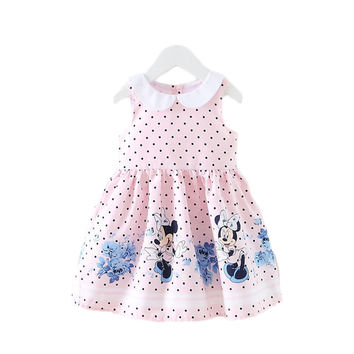 2015 New Girls Dress Summer New Minnie Mouse Dot Children Clothing Baby Kids Cute Clothes for 1-7Y Girl's Party Dresses