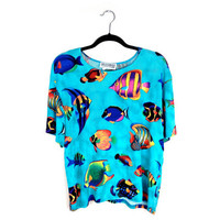 90's Tropical Fish Slinky Blue Oversize Top