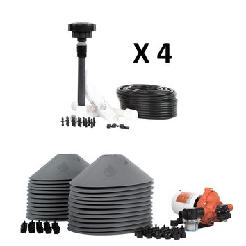All in One Professional 24-Plant Grow Kit - Includes Drip Irrigation Emitters, Pump, Hydrolock Caps, Fittings, Bubbler Manifold, Tubing. Indoor & Outdoor Use - USA Made