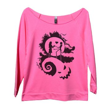 The Nightmare Before Christmas Womens 3/4 Long Sleeve Vintage Raw Edge Shirt