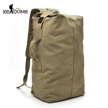 Large Capacity Men Women Travel Bag Military Tactical Climbing Backpack Army Bags Canvas Bucket Shoulder Sports Bag Male XA595WD