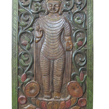 "Vastu Decor Indian Wall Art Religion Abhaya Buddha Hand Craved Wall Panels 72"" X 36"""
