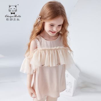 Girls'Short Sleeve T-shirt in Children's Wear New Kids' Short Sleeve T-shirt Top with Short Shoulder and Western Style