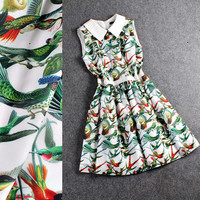 Bird Print Collared Sleeveless Swing Mini dress