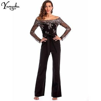 Sexy Sequins Patchwork Rompers Womens Jumpsuit Baby Women 2018 Summer Elegant Long Sleeves Backless Party Playsuits Overalls New