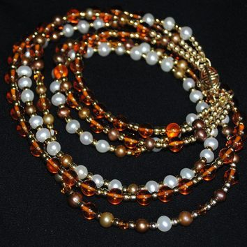 Amber, Pearls, Gold & Swarovski Crystals necklace by DalkullanJewelry