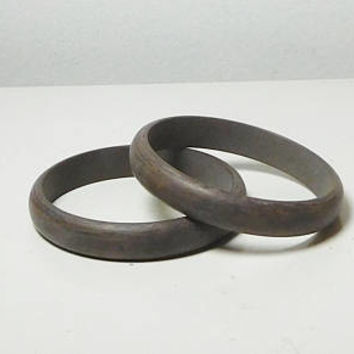 Dark Brown Bangle Cuff, Bangle Bracelets, Set of 2, Hippie Jewelry, Gypsy Bangle, Lightweight Plastic, Wood Look, Never Worn, Vintage