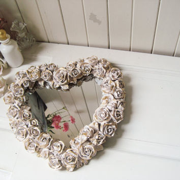 Baby Pink and Gold Heart Shaped Gilded Gold Rose Mirror, Ornate Vanity Mirror Tray, Perfume Tray, Heart Shaped Wall Hanging, Shabby Chic