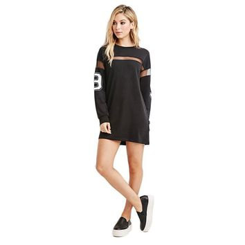 Mesh Patch Loose Jersey Shirt Dress