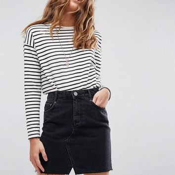 ASOS Denim Pelmet Skirt in Washed Black at asos.com