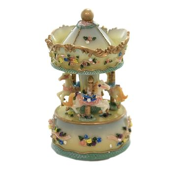 Figurine CAROUSEL WITH FLOWERS/RIBBON Polyresin Horses Musical 141396