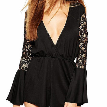 Rogue Deep V Lace Bell Sleeve Romper