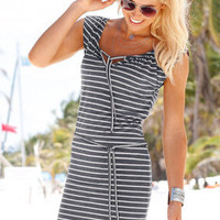 SIMPLE - Woman Fashionable Striped Design One Piece Dress a10589