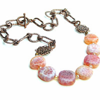 Fire Agate Gemstone Necklace, Antique Copper Necklace, Pink, Peach, Orange