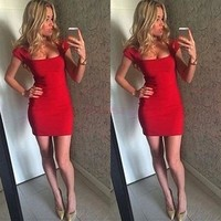 Stylish Lady Formal Short Sleeve Sexy Mini Dress Cocktail Evening Party Ball Prom [7954264391]