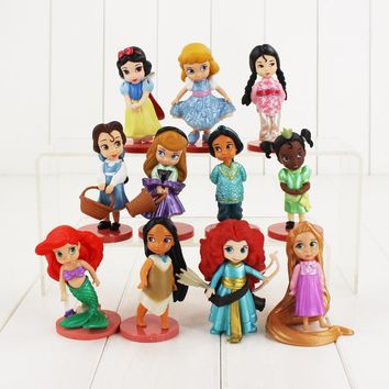 11pcs/lot Princess Figure Toy Snow White Moana Ariel Mermaid Tangled Rapunzel Jasmine Beauty Model Doll for Kids