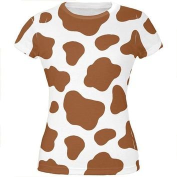 CREYCY8 Halloween Costume Brown Spot Cow All Over Juniors T Shirt