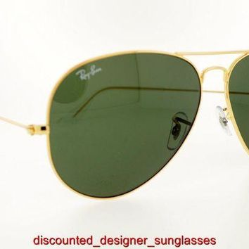 Gotopfashion RAY-BAN SUNGLASSES RB 3026 L2846 62MM GOLD FRAME GREEN LENSES AUTHENTIC NEW